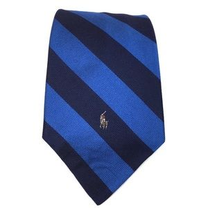 Polo Ralph Lauren 100% Silk Neck Tie Blue Stripe